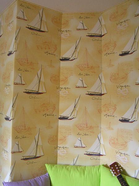 Simple tenture murale tapissier trlaz angers with poser du - Poser du tissu mural ...